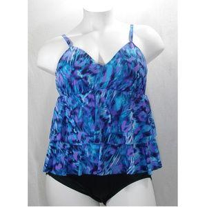Miraclesuit Ruffled 1PC Swim Suit 20W Blue Multi